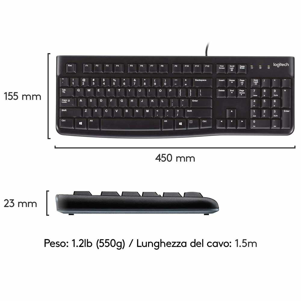 Tastiera Logitech K120 layout ITA QWERTY per Windows MacOS Linux ergonomica foto 6