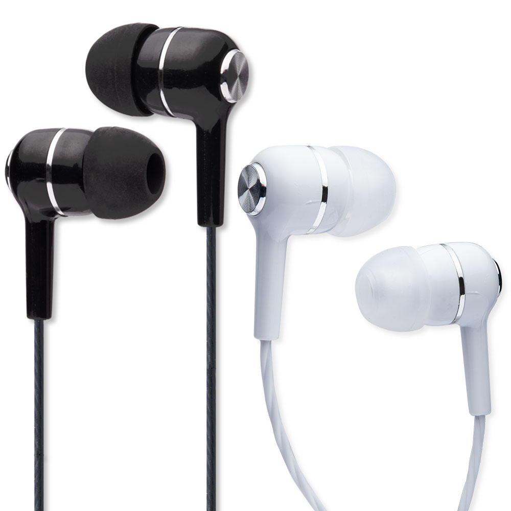 2 Auricolari Bianco/Nero In-Ear con microfono isolamento del rumore antigroviglio 3,5mm foto 2