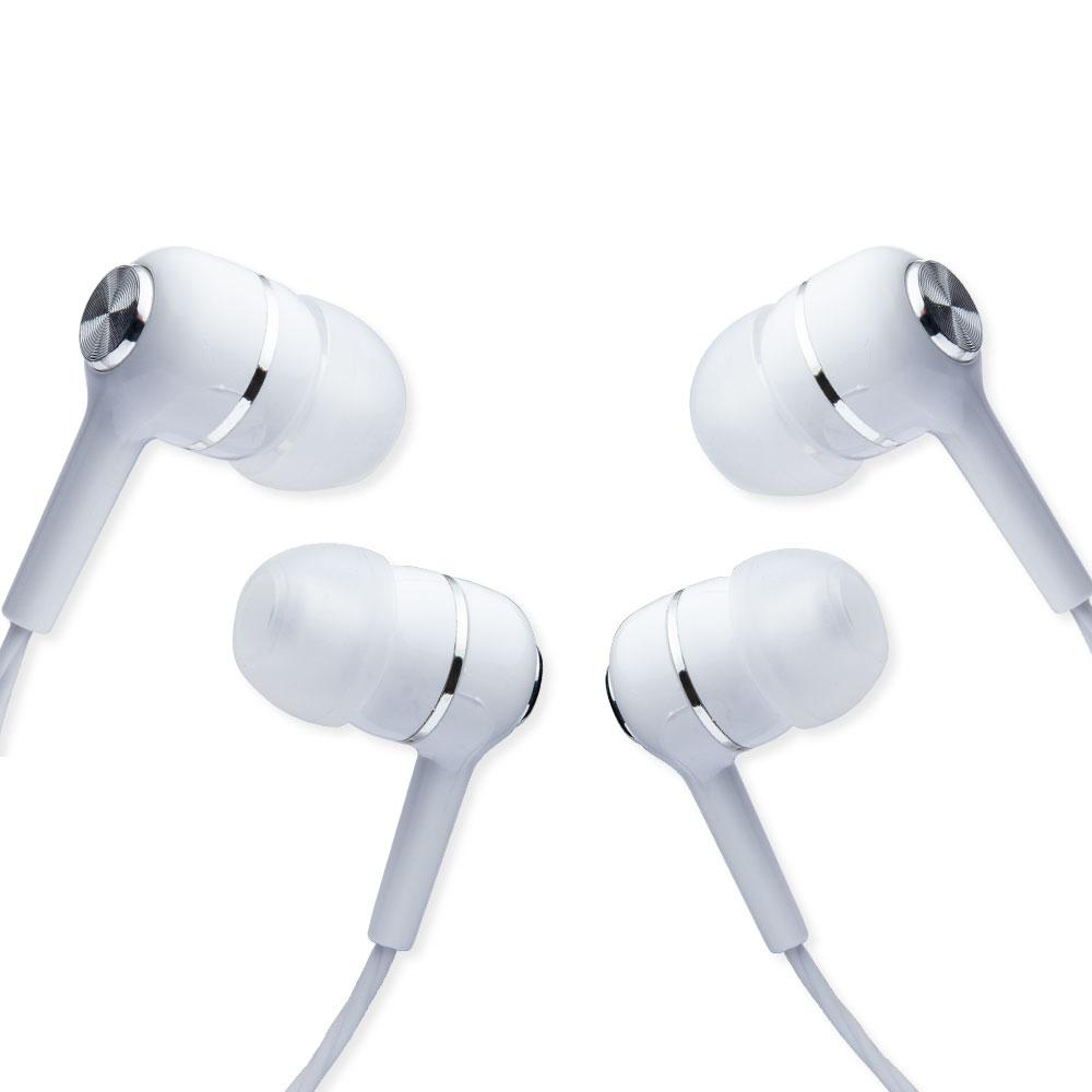 2 auricolari bianco in-ear con microfono isolamento del rumore antigroviglio 3,5mm