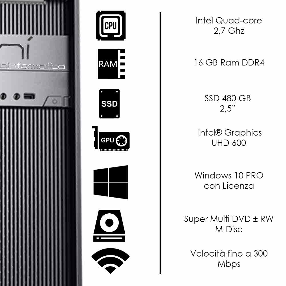 Pc Desktop Intel quad core 16gb ram DDR4 ssd 480 gb Windows 10 con licenza WiFi foto 3