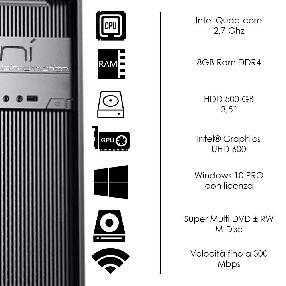 Pc Desktop Windows 10 con licenza Intel quad core 8gb ram DDR4 HDD 500gb WiFi foto 3