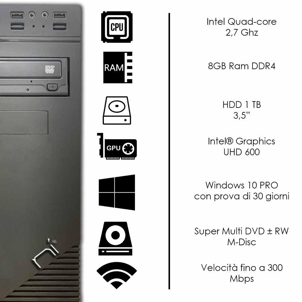 Pc desktop Windows 10 Intel quad core 8gb ram DDR4 hard disk 1tb WiFi HDMI  foto 3