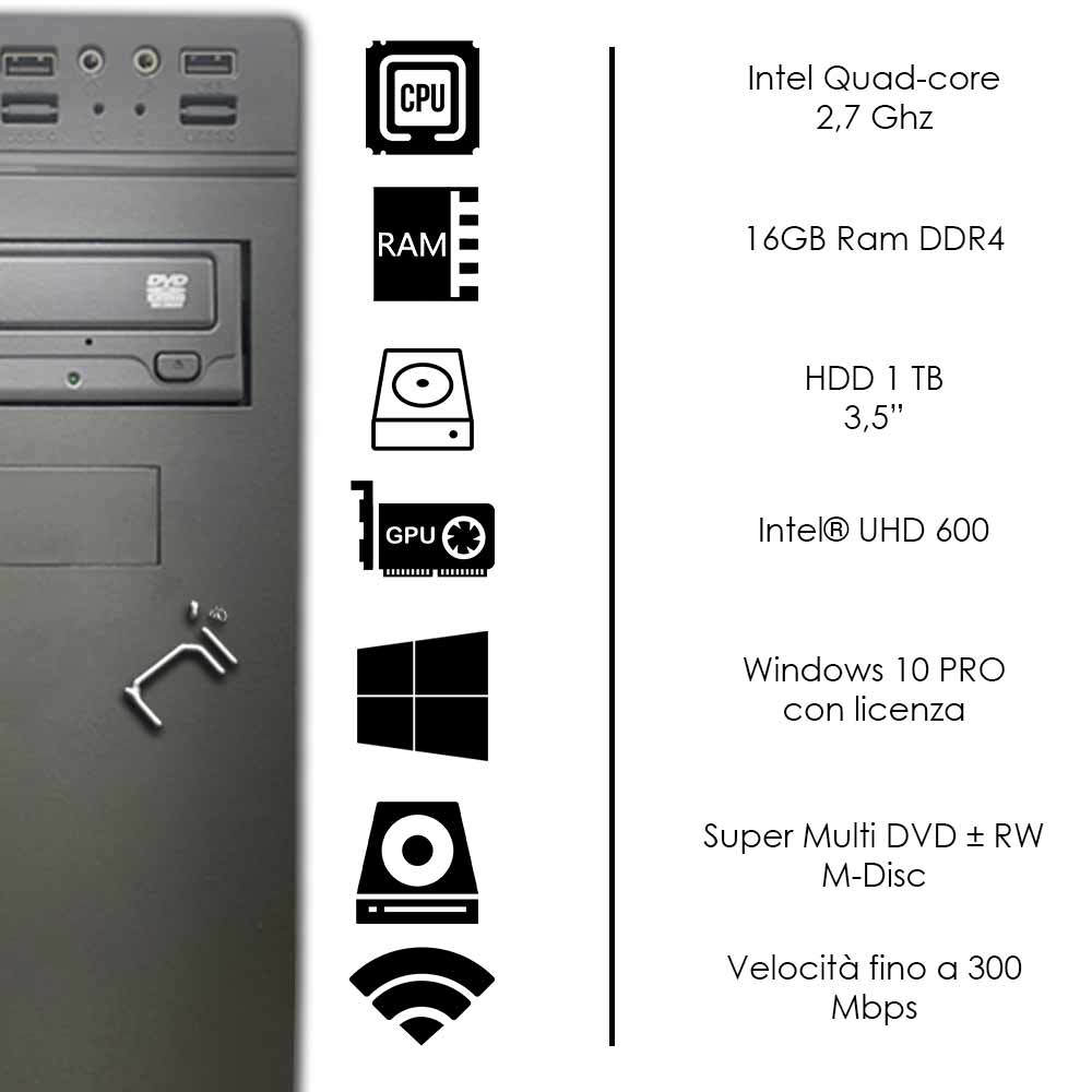 Pc fisso Windows 10 con licenza Intel quad core 16gb ram DDR4 hard disk 1tb WiFi foto 3