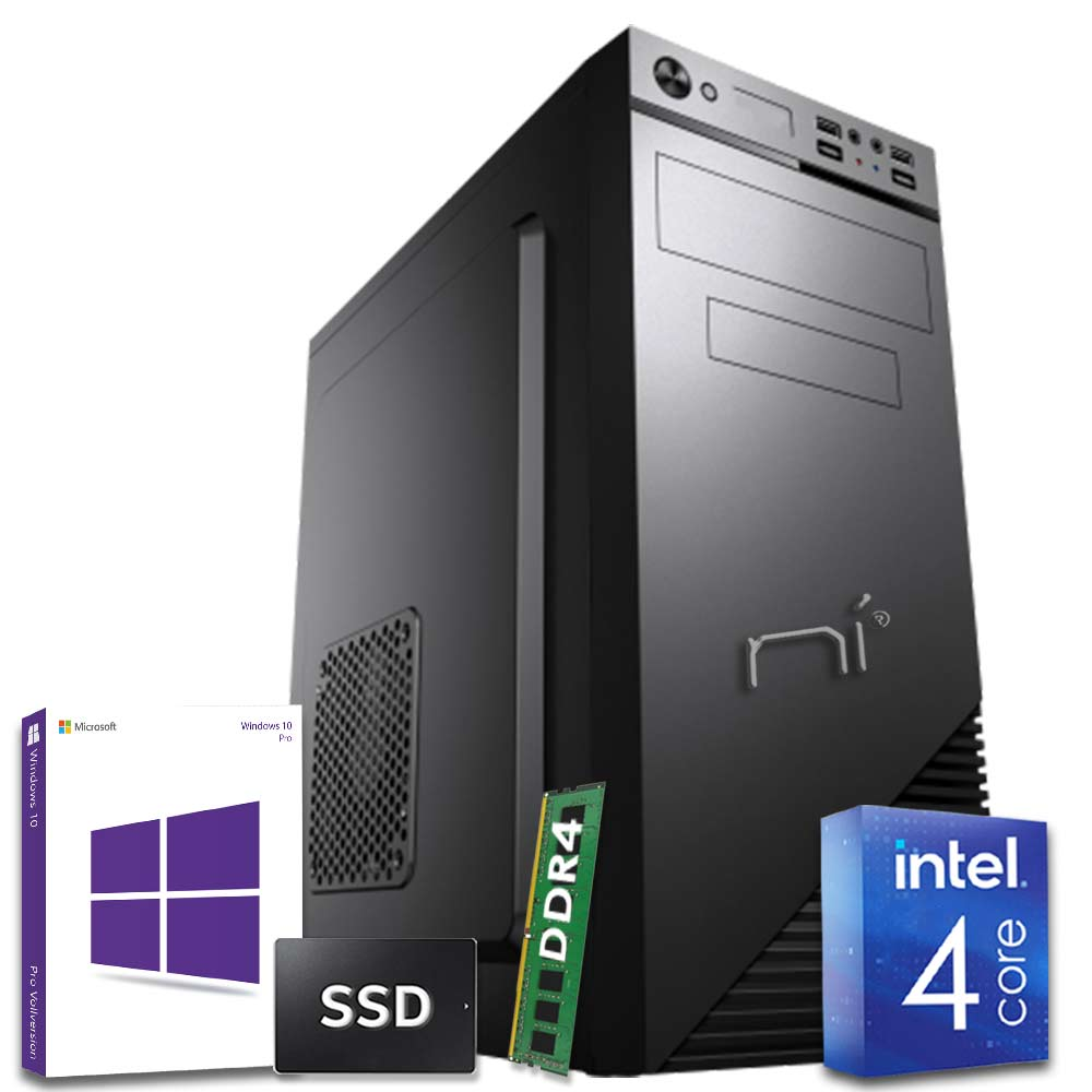 Pc fisso windows 10 con licenza intel quad core 8gb ram ddr4 ssd 120gb wifi