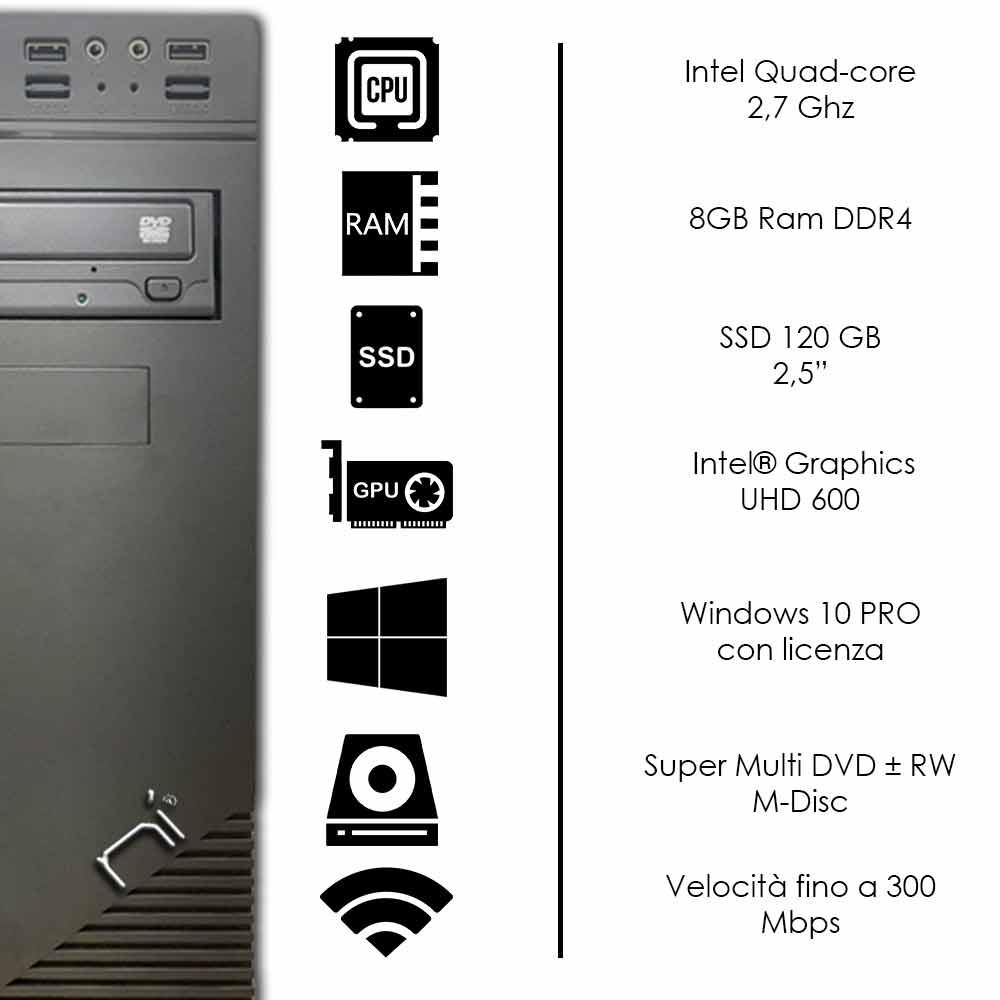 Pc fisso Windows 10 con licenza Intel quad core 8gb ram DDR4 ssd 120gb WiFi foto 3