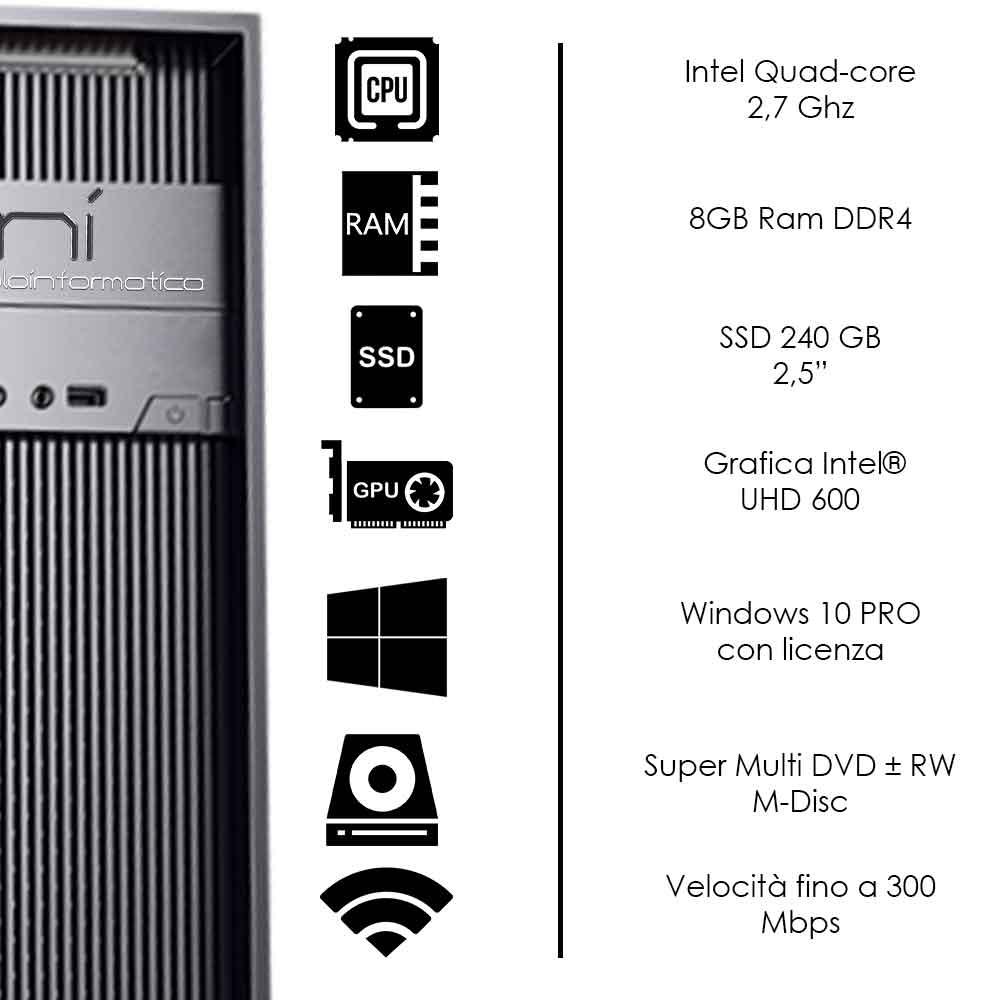 Pc fisso Windows 10 con licenza Intel quad core 8gb ram DDR4 ssd 240gb WiFi HDMI foto 3