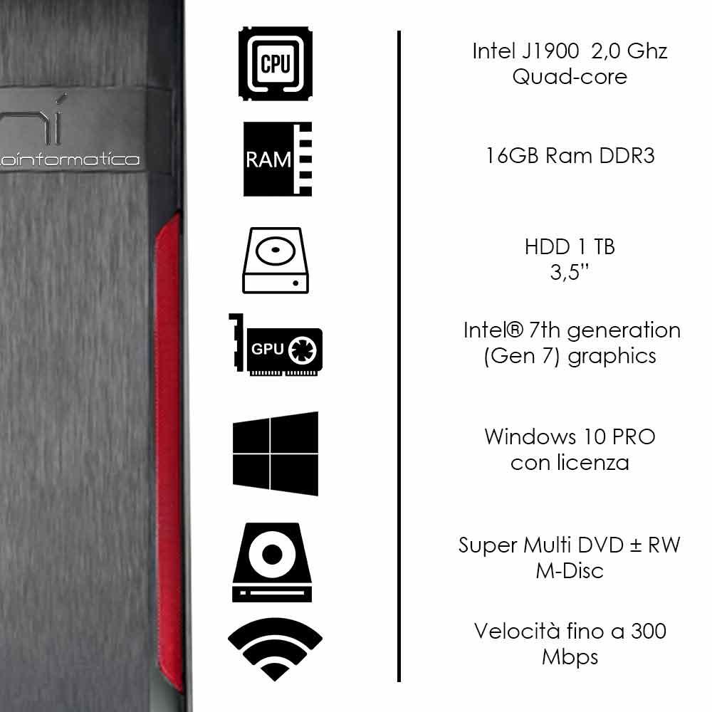 Pc fisso Windows 10 con licenza Intel quad core 16gb ram hard disk 1tb WiFi HDMI foto 3
