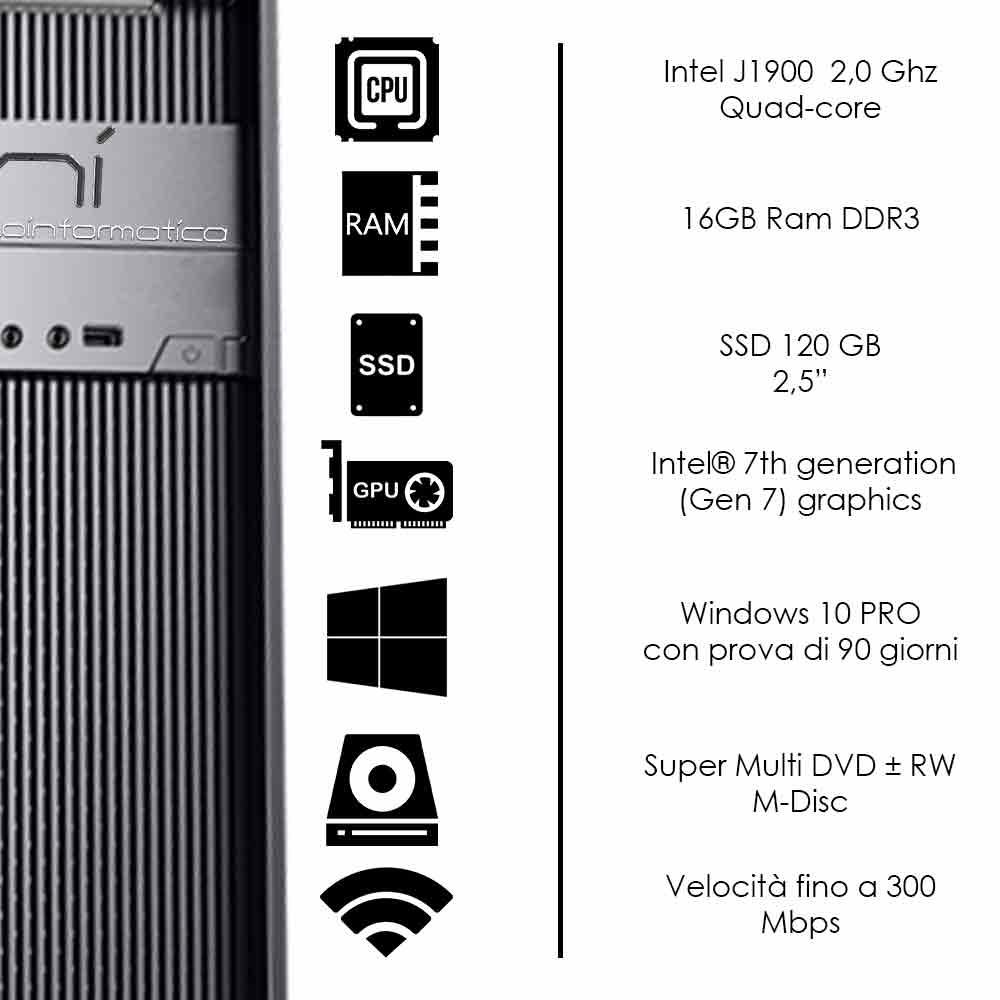 Pc Desktop Windows 10 di prova Intel quad core 16gb ram ssd 120gb WiFi HDMI foto 3