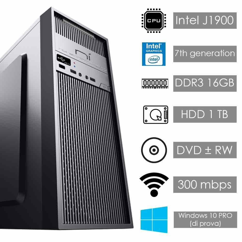 Pc assemblato Windows 10 Intel quad core 16gb ram hard disk 1tb WiFi HDMI