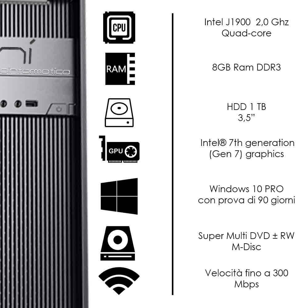 Pc Desktop Windows 10 di prova Intel quad core 8gb ram hard disk 1TB WiFi HDMI foto 3