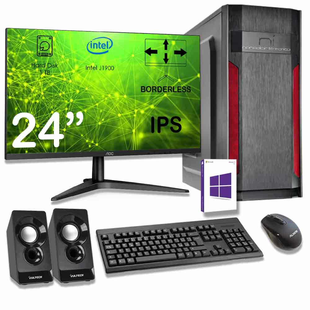 Kit pc Windows 10 Intel quad core 8gb ram hard disk 1tb monitor casse incluso