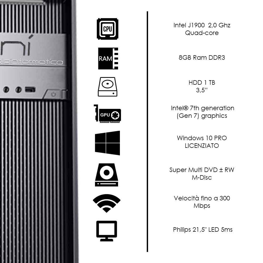Postazione pc fisso Intel quad core 16gb ram hard disk 1tb monitor 24 pollici foto 3