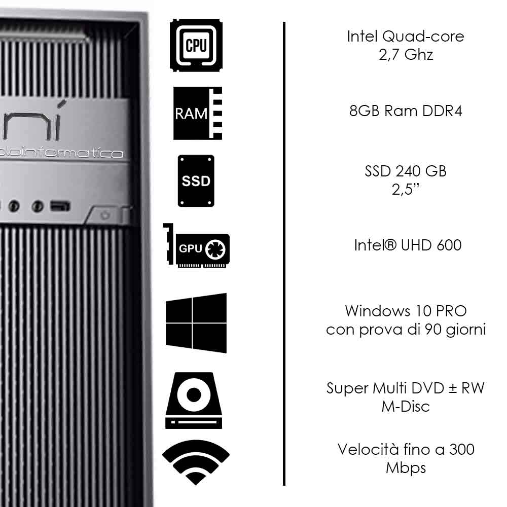Pc assemblato 3 monitor intel quad-core 8gb ram 240 gb ssd windows 10 wifi hdmi foto 3
