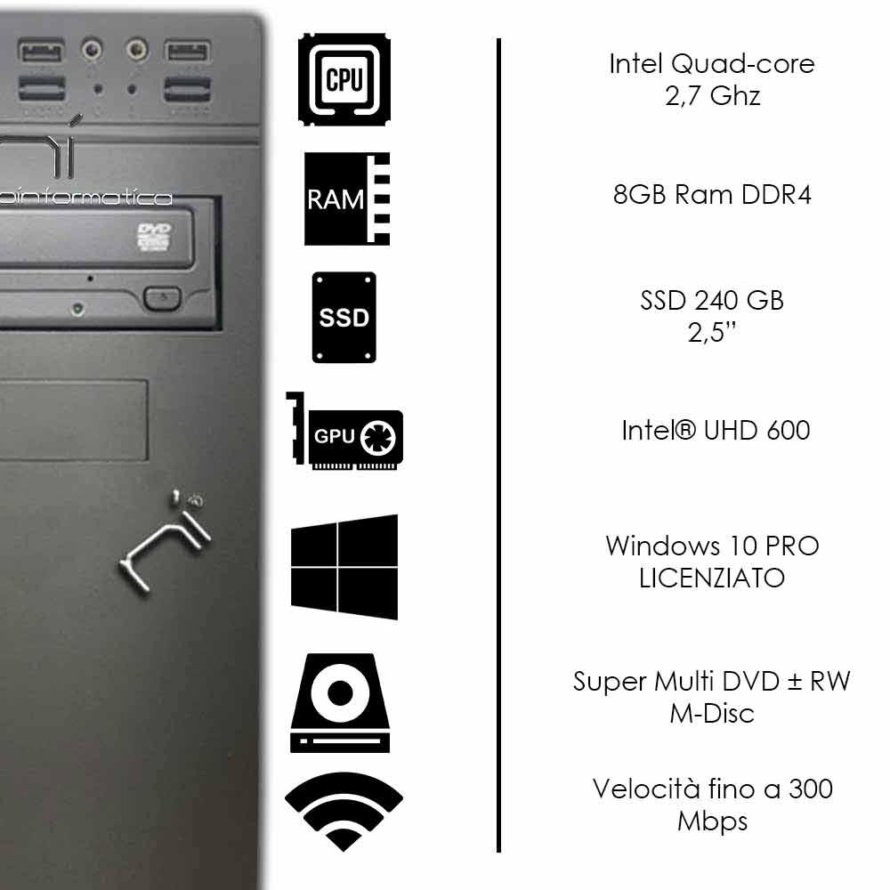 Pc desktop 3 monitor intel quad-core 8gb ram DDR4 240 gb ssd Win10 licenziato foto 3
