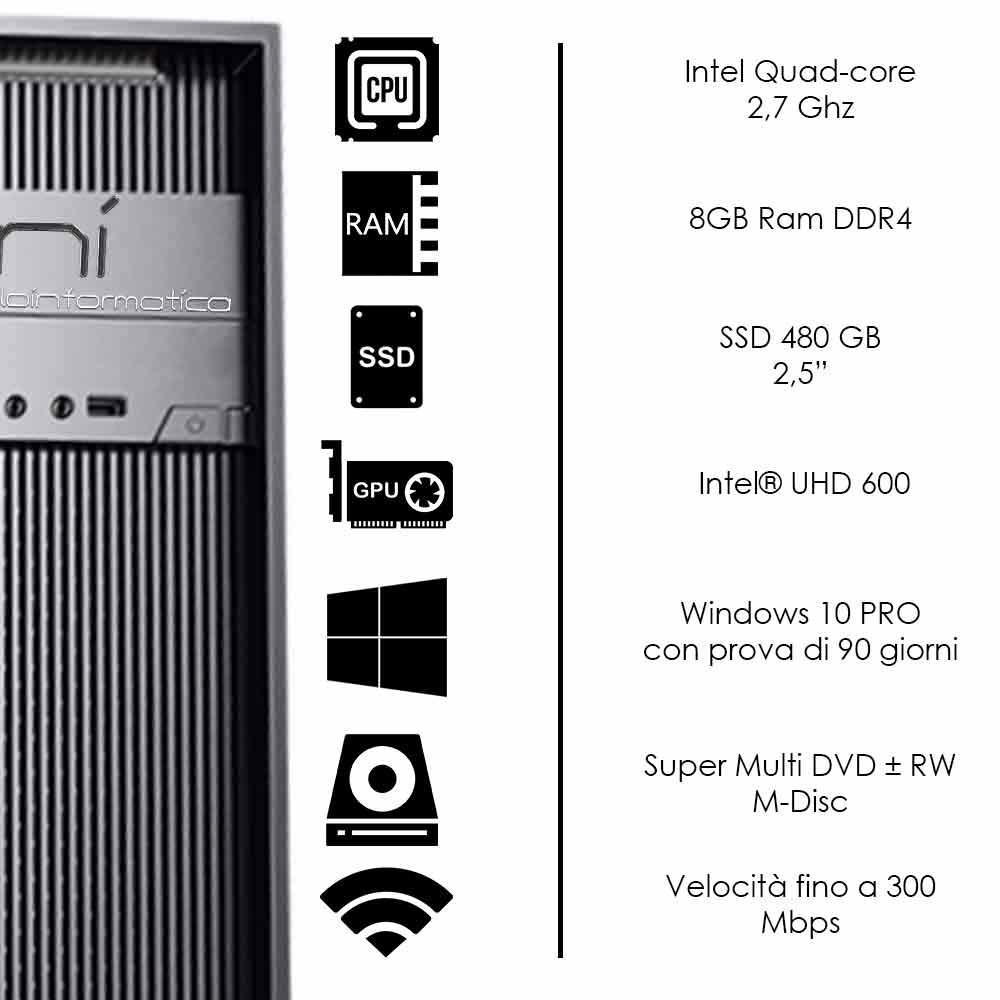 Pc desktop 3 monitor intel QuadCore 8gb ram DDR4 480 gb ssd windows 10 wifi hdmi foto 3