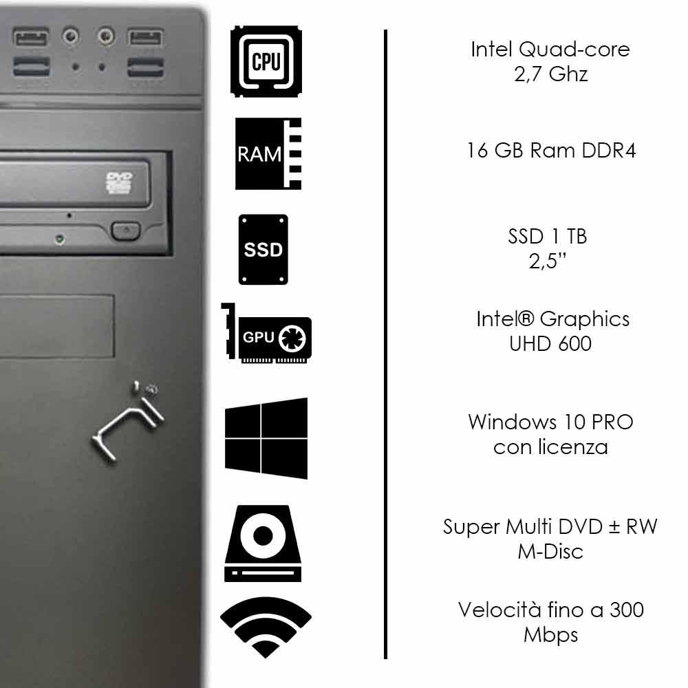 Pc Desktop Intel quad core 16 gb DDR4 ram ssd 1tb Windows 10 con licenza WiFi foto 3