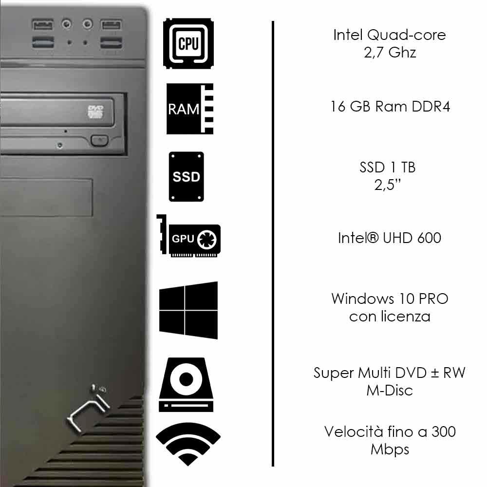Pc Desktop Windows 10 con licenza Intel quad core 16gb ram DDR4 ssd 1 tb WiFi foto 3