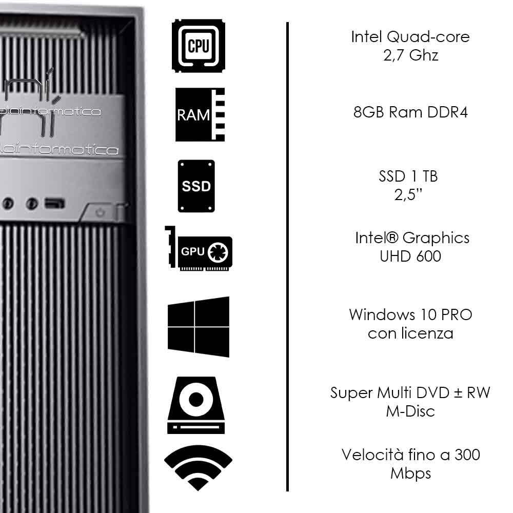 Pc Desktop Windows 10 con licenza Intel quad core 8gb DDR4 ram ssd 1tb WiFi HDMI foto 3