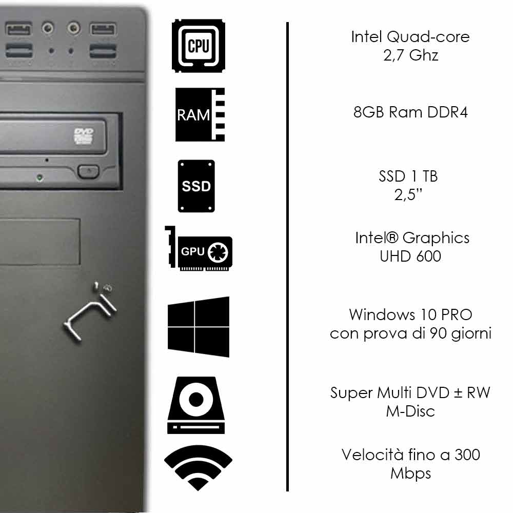 Pc Desktop Windows 10 Intel quad core 8gb ram DDR4 ssd 1tb WiFi HDMI foto 3