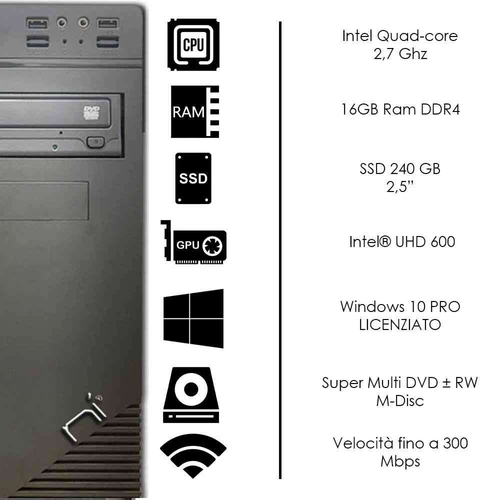 Pc fisso 3 monitor intel quad-core 16gb ram DDR4 240 gb ssd Win10 con licenza foto 3