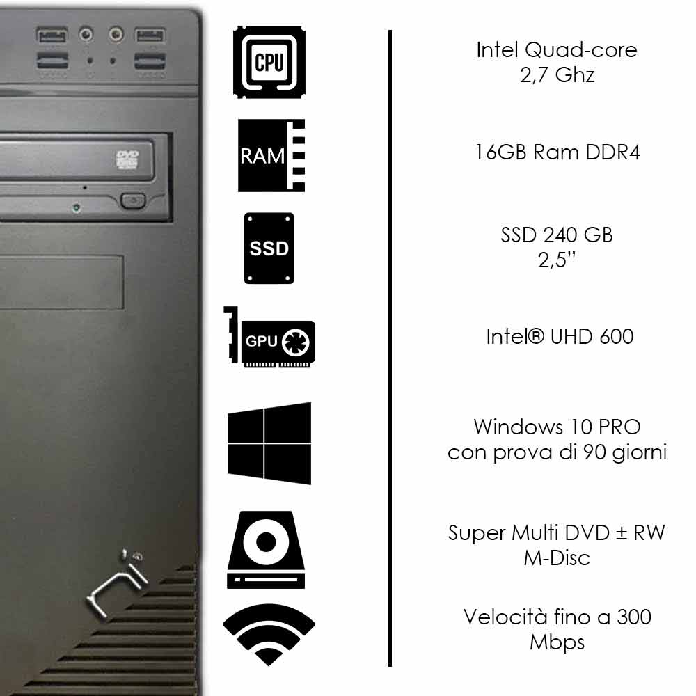 Pc fisso 3 monitor intel quad-core 16gb ram DDR4 240 gb ssd windows 10 WIFI HDMI foto 3
