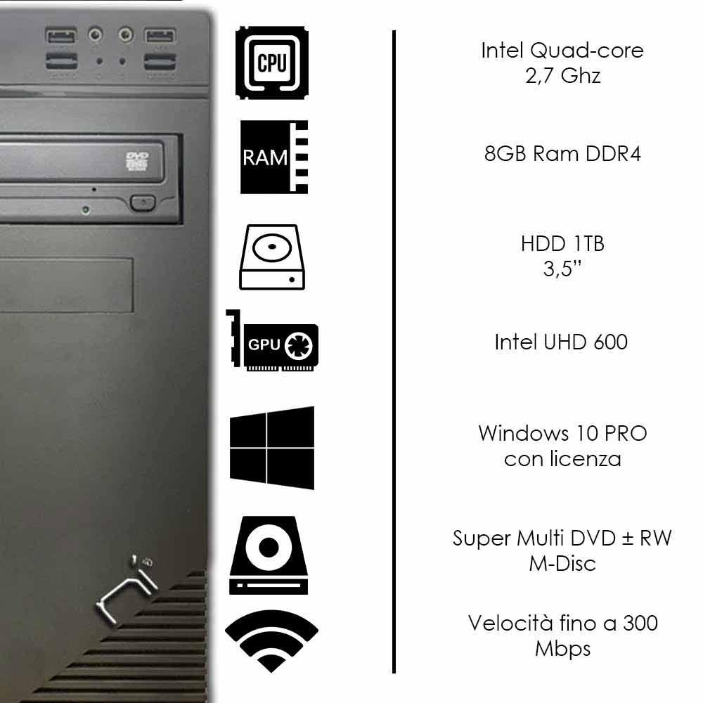 Pc fisso 3 monitor intel quad-core 8gb ram 1 tb hard disk windows 10 licenziato foto 3