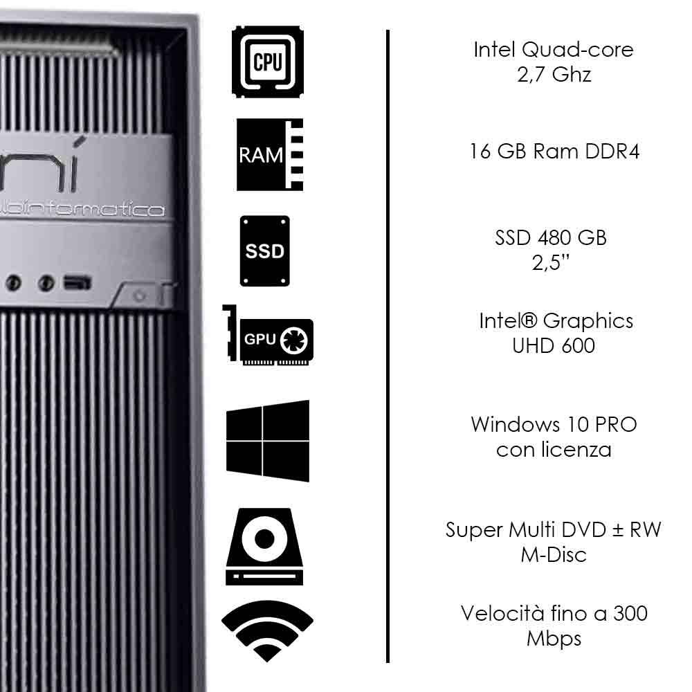 Pc Fisso Windows 10 licenziato Intel quad core 16gb ram DDR4 ssd 480gb WiFi HDMI foto 3