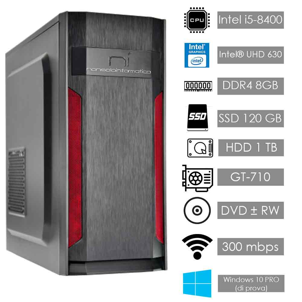 Pc gaming intel i5 8400 nvidia gt 710 8gb ram ssd 120gb hard disk 1tb assemblato