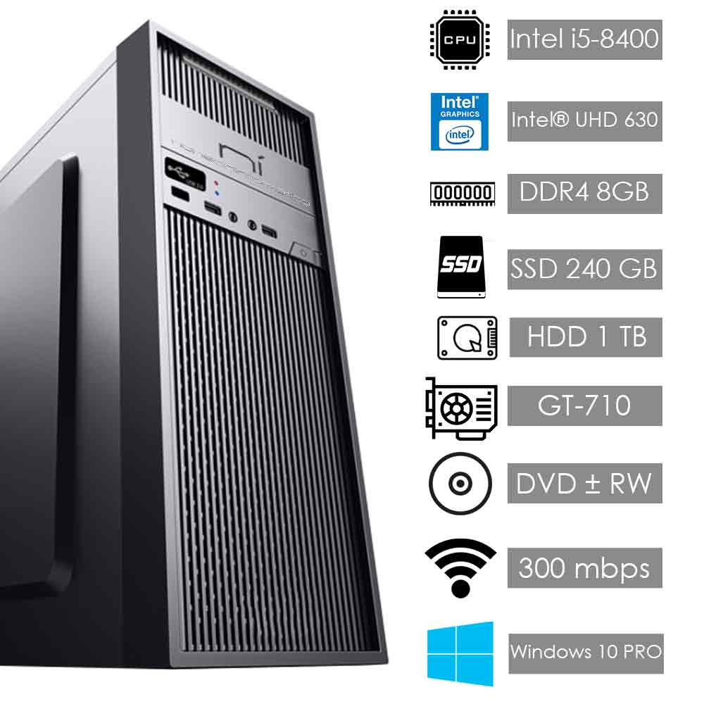Pc fisso windows 10 con licenza i5-8400 8gb ram hdd 1tb ssd 240gb nvidia gt 710