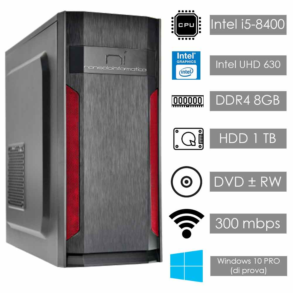 Pc fisso windows 10 intel i5 hexa-core 8400 8gb ram hard disk 1tb wifi hdmi