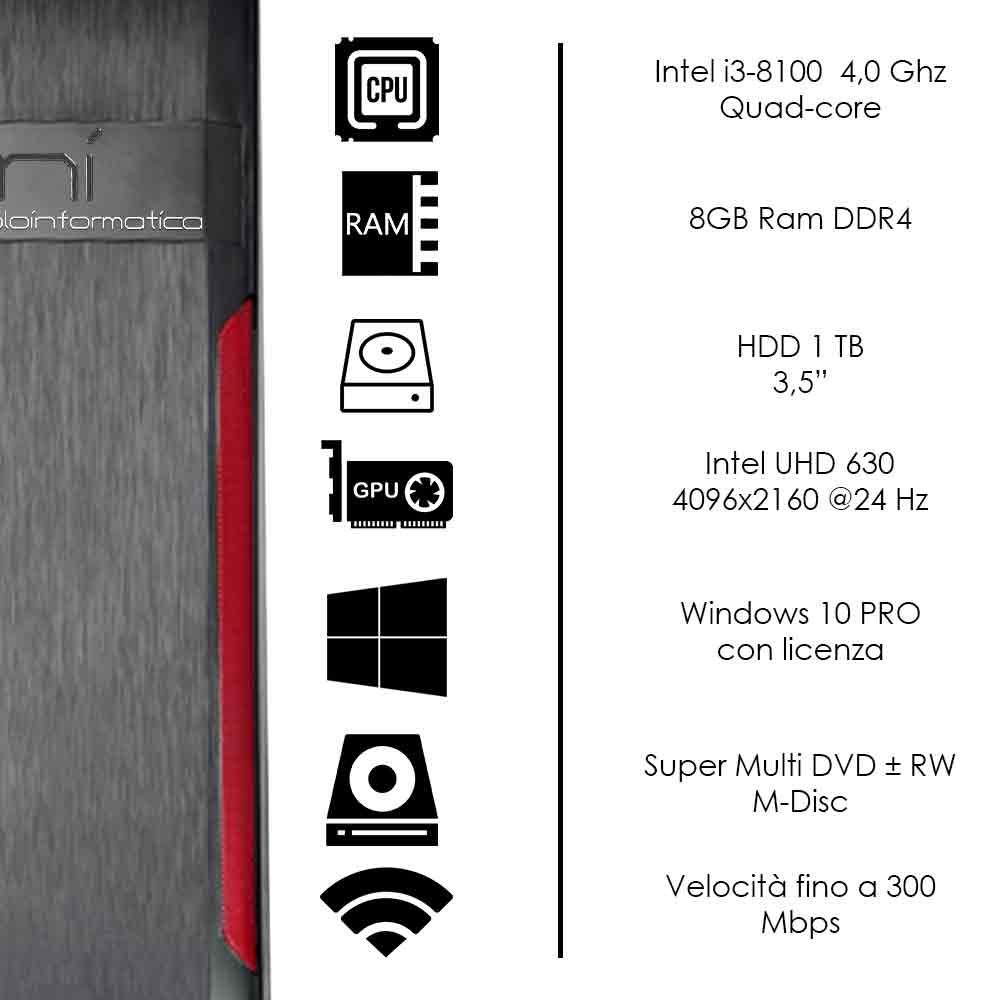 Pc Desktop Intel i3-8100 quad core Windows 10 8gb ram hard disk 1tb WiFi HDMI foto 3