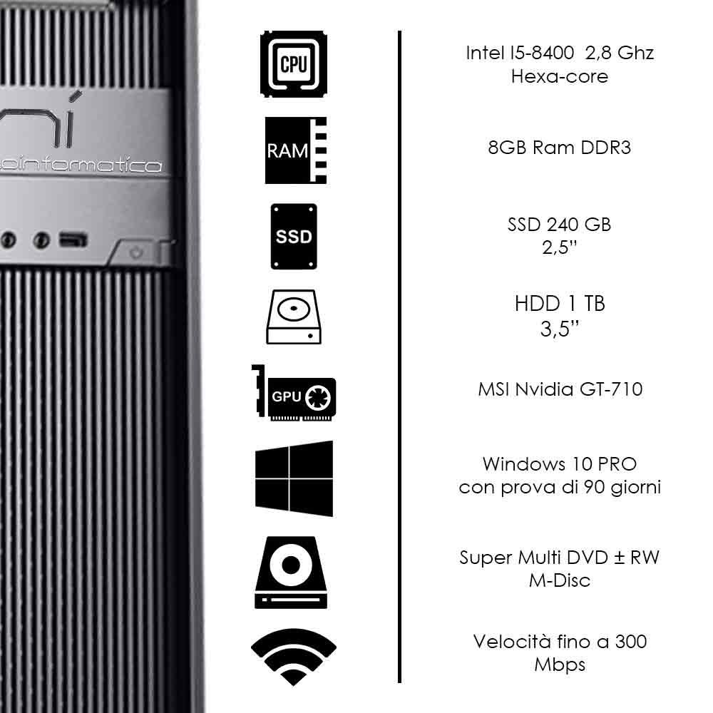 Pc Desktop Windows 10 Intel i5-8400 8gb ram hdd 1tb ssd 240gb nvidia gt 710 foto 3