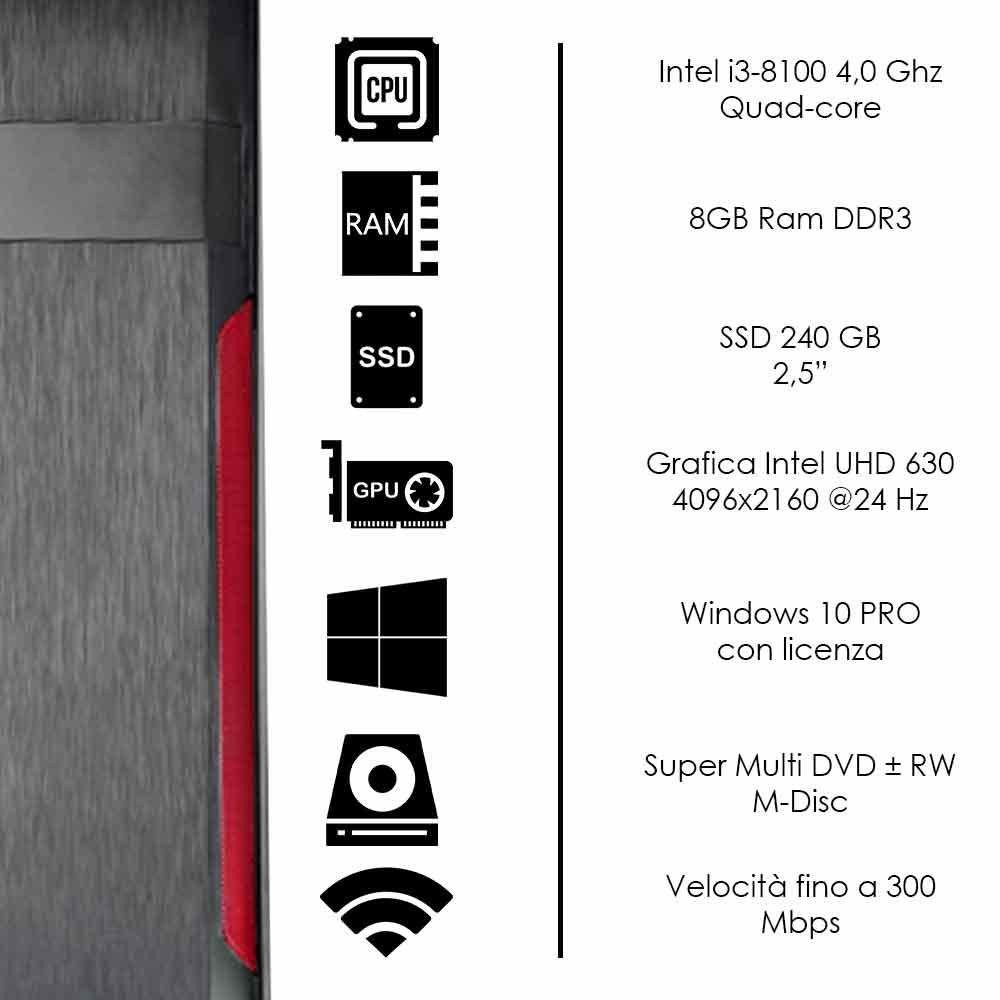 Pc Desktop Intel i3-8100 quad core Windows 10 8gb ram 240 gb ssd WiFi HDMI foto 3