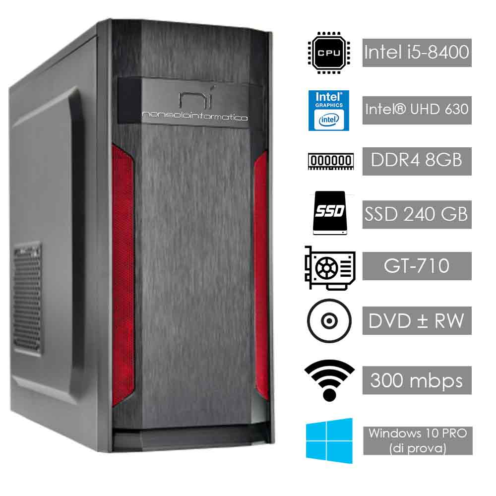 Pc thunder windows 10 (trial) intel i5-8400 8gb ram ssd 240gb nvidia gt710 wifi