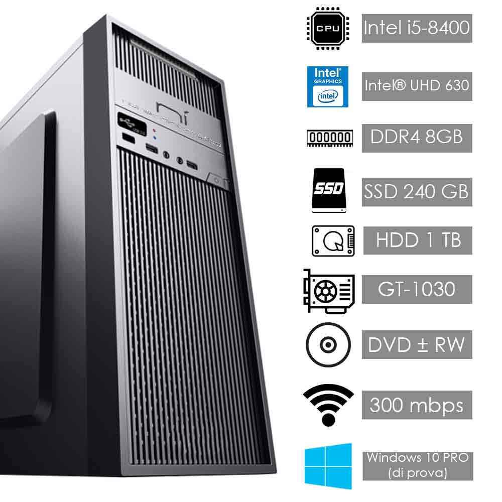 Pc desktop intel i5-8400 video dedicato nvidia gt 1030 8gb ram hdd 1tb ssd 240gb