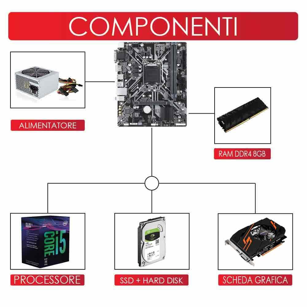 Pc Pulsar scheda video gt-1030 2gb Intel i5-8400 8gb ram hdd 1tb ssd 240gb foto 3