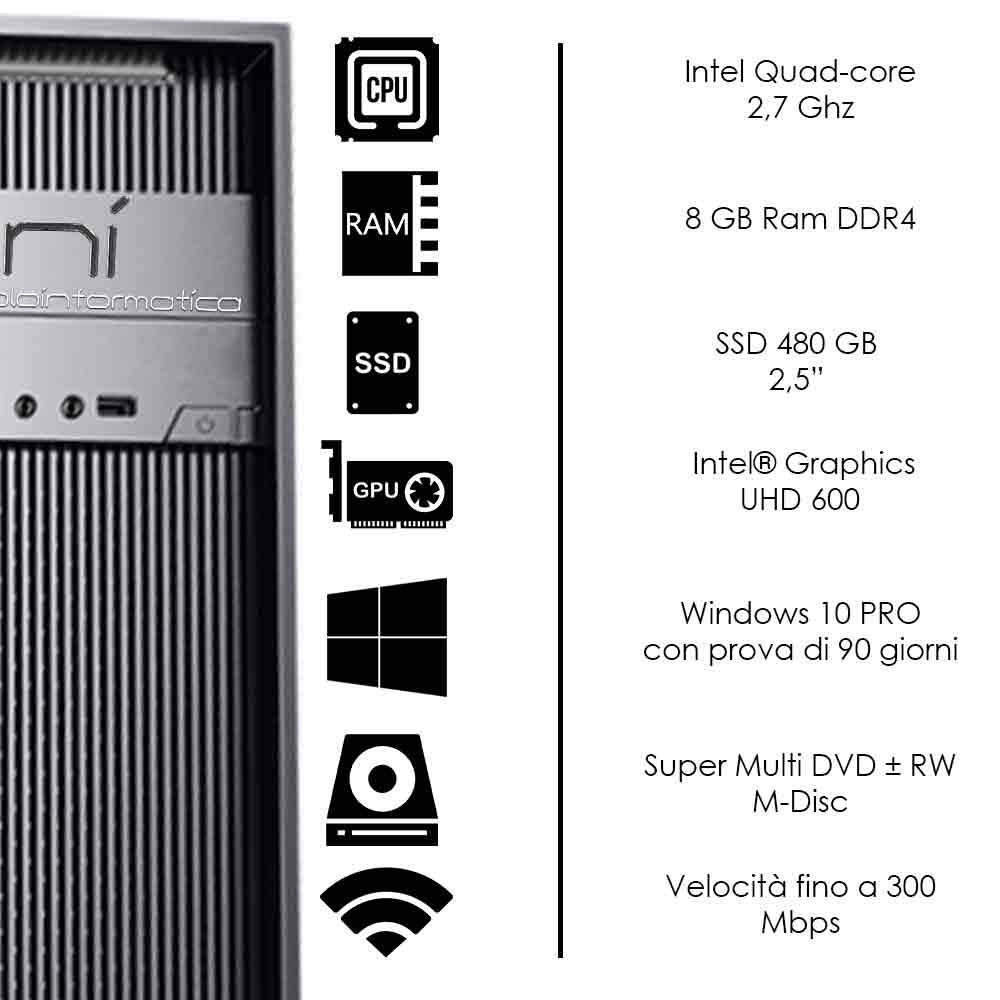 Pc Desktop Windows 10 Intel quad core 8gb ram DDR4 ssd 480 gb WiFi HDMI foto 3