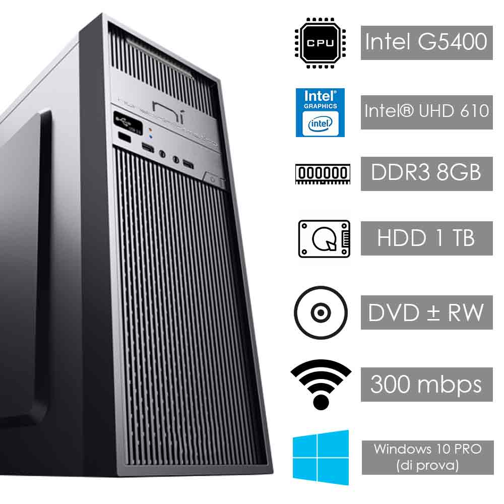 Pc fisso windows 10 intel dual-core g5400 8gb ram hard disk 1tb wifi hdmi