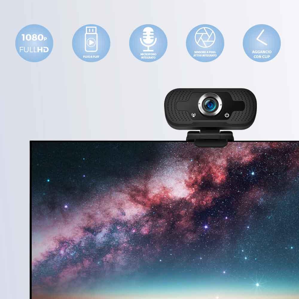 Webcam pc con microfono full hd smart working skype video camera per pc foto 3