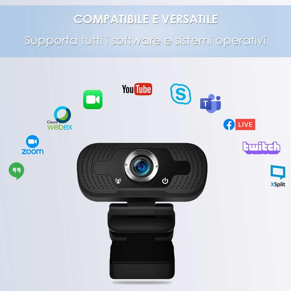 Webcam pc con microfono full hd smart working skype video camera per pc foto 4