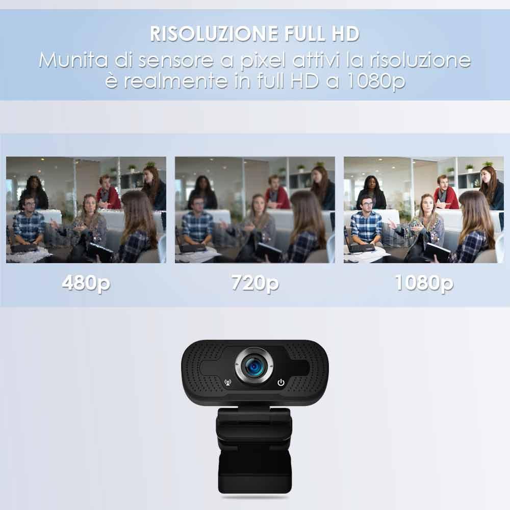 Webcam pc con microfono full hd smart working skype video camera per pc foto 5
