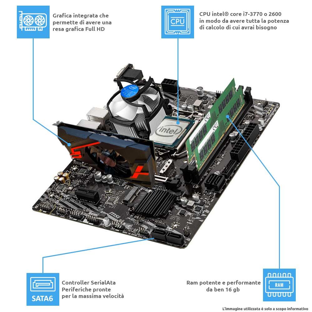 Computer Pc fisso i7 quad core windows 10 pro 16gb ram, ssd 240gb, hd 1tb, WiFi foto 4