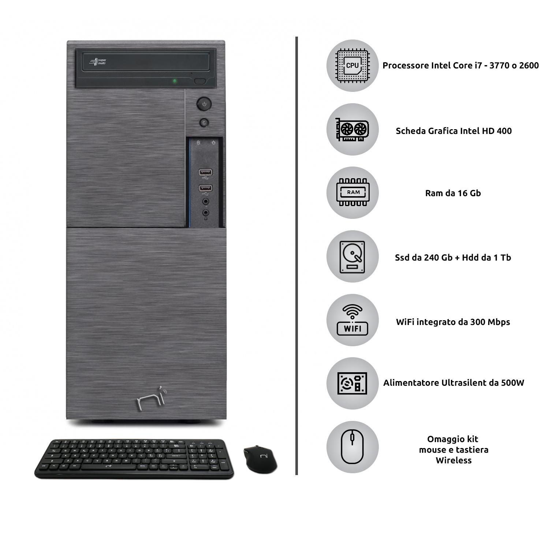 Computer Pc fisso i7 quad core windows 10 pro 16gb ram, ssd 240gb, hd 1tb, WiFi foto 3