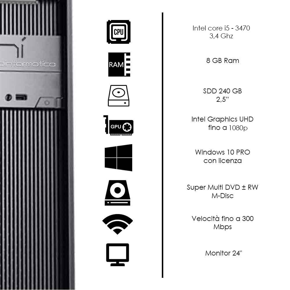 Kit postazione pc fisso Windows 10 licenziato Intel core i5 4core 8gb ssd 240gb foto 3