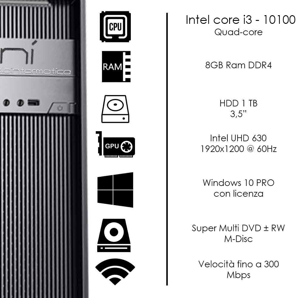 Pc Desktop Windows 10 con licenza Intel i3 10100 8gb ram hard disk 1TB WiFi HDMI foto 3