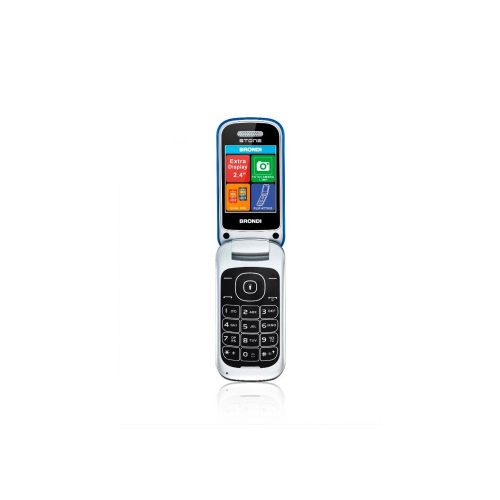 Telefono Cellulare Brondi stone gsm con apertura a conchiglia azzurro dualsim