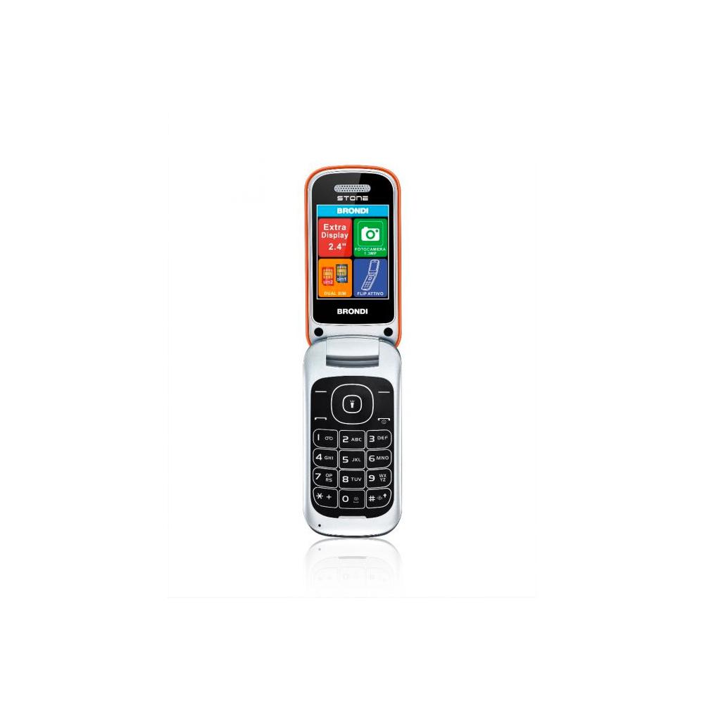 Telefono Cellulare Brondi stone gsm con apertura a conchiglia arancione dualsim foto 2