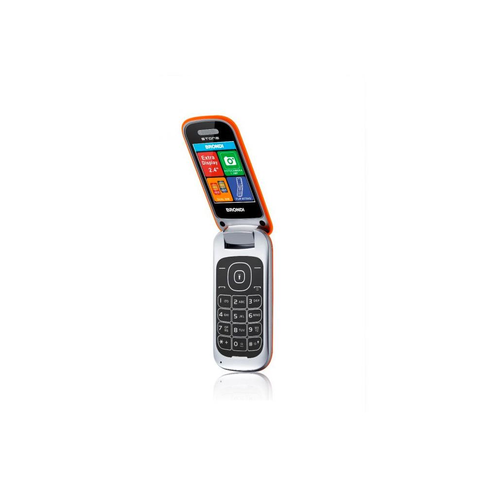 Telefono Cellulare Brondi stone gsm con apertura a conchiglia arancione dualsim foto 4