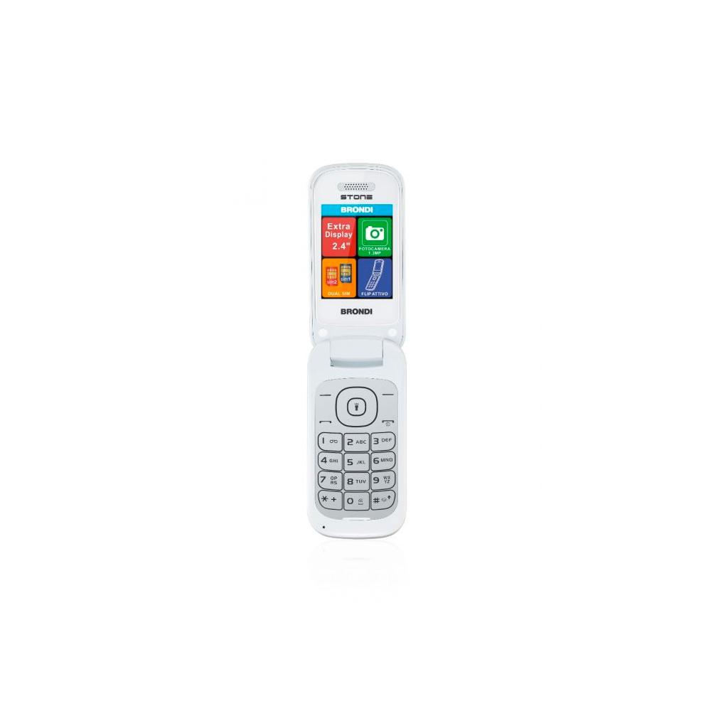 Telefono cellulare brondi stone gsm con apertura a conchiglia bianco dualsim