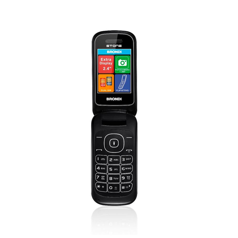 Telefono Cellulare Brondi stone gsm con apertura a conchiglia nero dualsim foto 2